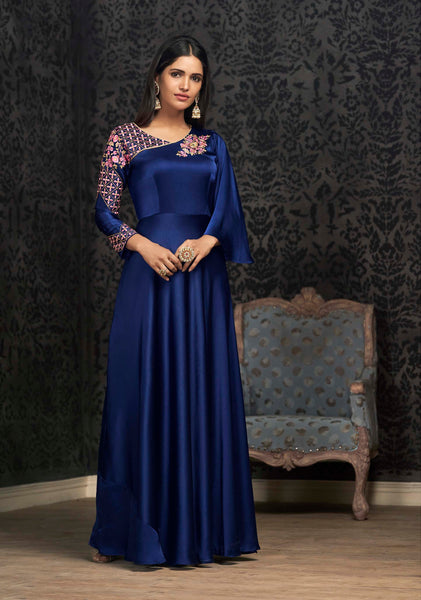 This Designer Readymade Gown In Royal Blue Color Fabricated On Satin Silk