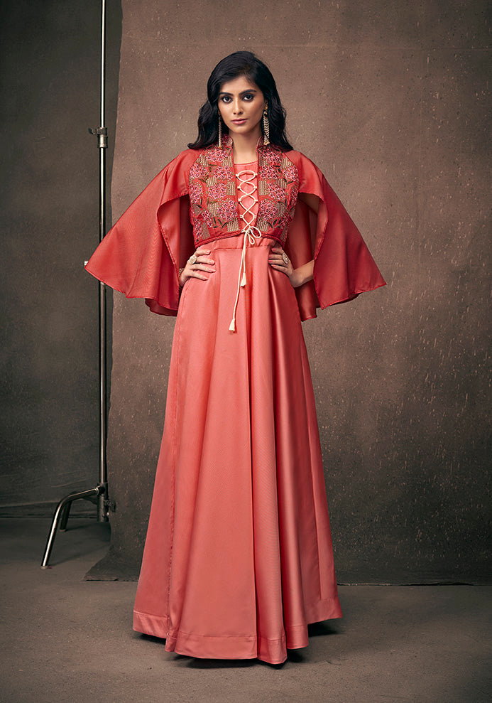 This Heavy Designer Readymade Gown In Red Color Fabricated On Satin Silk