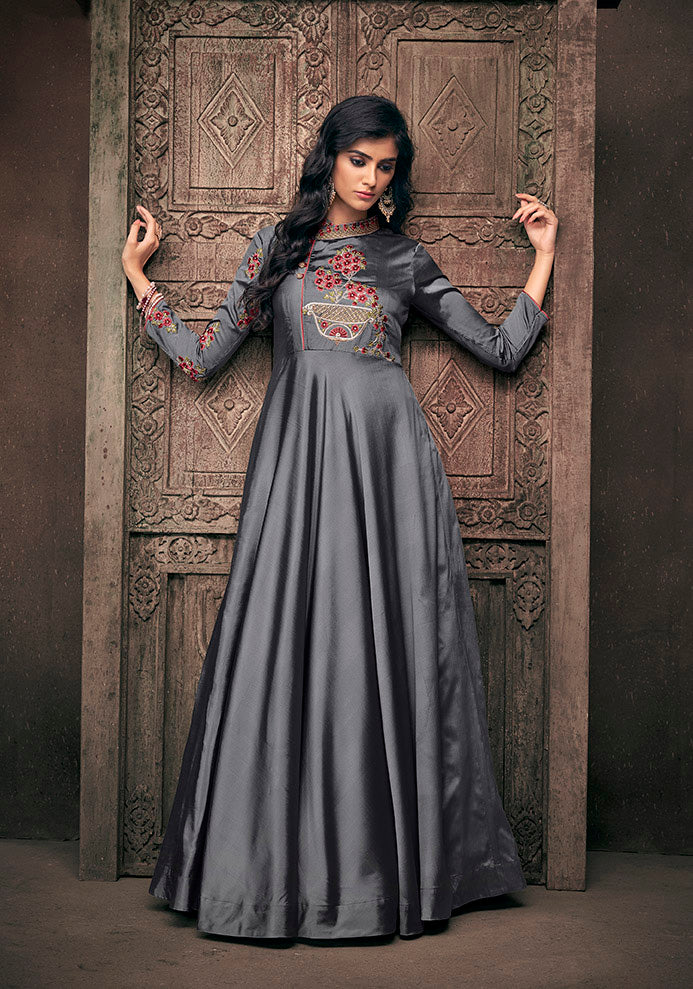 This Designer Readymade Gown In Dark Grey Color.