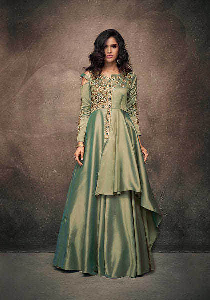 This Readymade Gown In Mint Green Color Fabricated On Satin Silk.