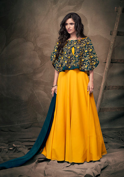 This Designer Readymade Gown In Musturd Yellow Color