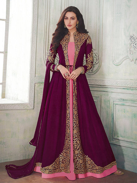 Here Is A Very Beautiful Designer Indo Western Suit In Pink Colored Inner Paired