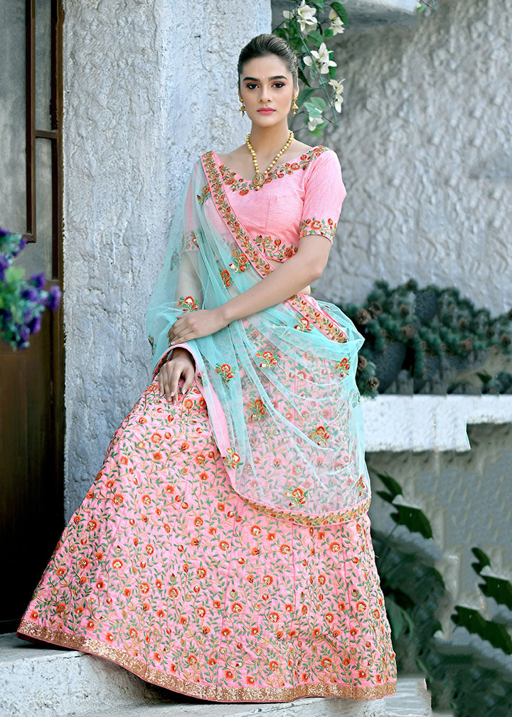 This Very Beautiful Heavy Designer Lehenga Choli In Pink Color