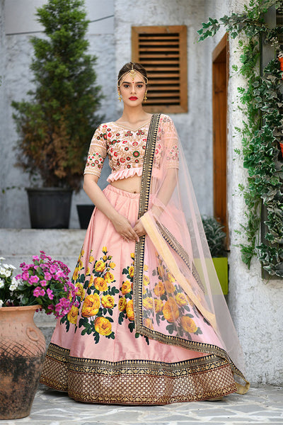 Look Pretty In This Very Beautiful Designer Lehenga Choli In All Over Peach Color