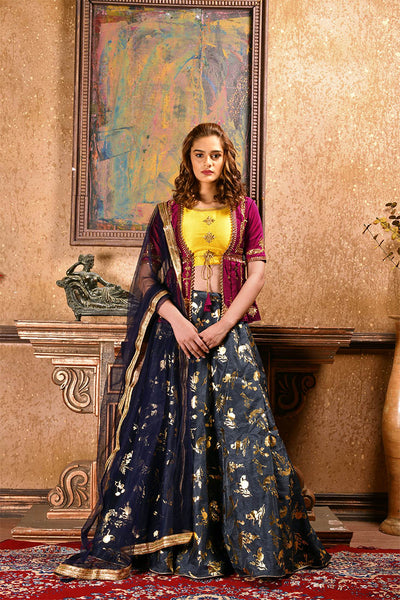 Grab This Unique Patterned Designer Lehenga Choli In Magenta Pink And Yellow Colored Blouse