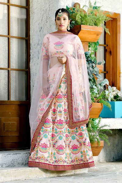 This Heavy Designer Lehenga Choli In All Over Baby Pink Color.