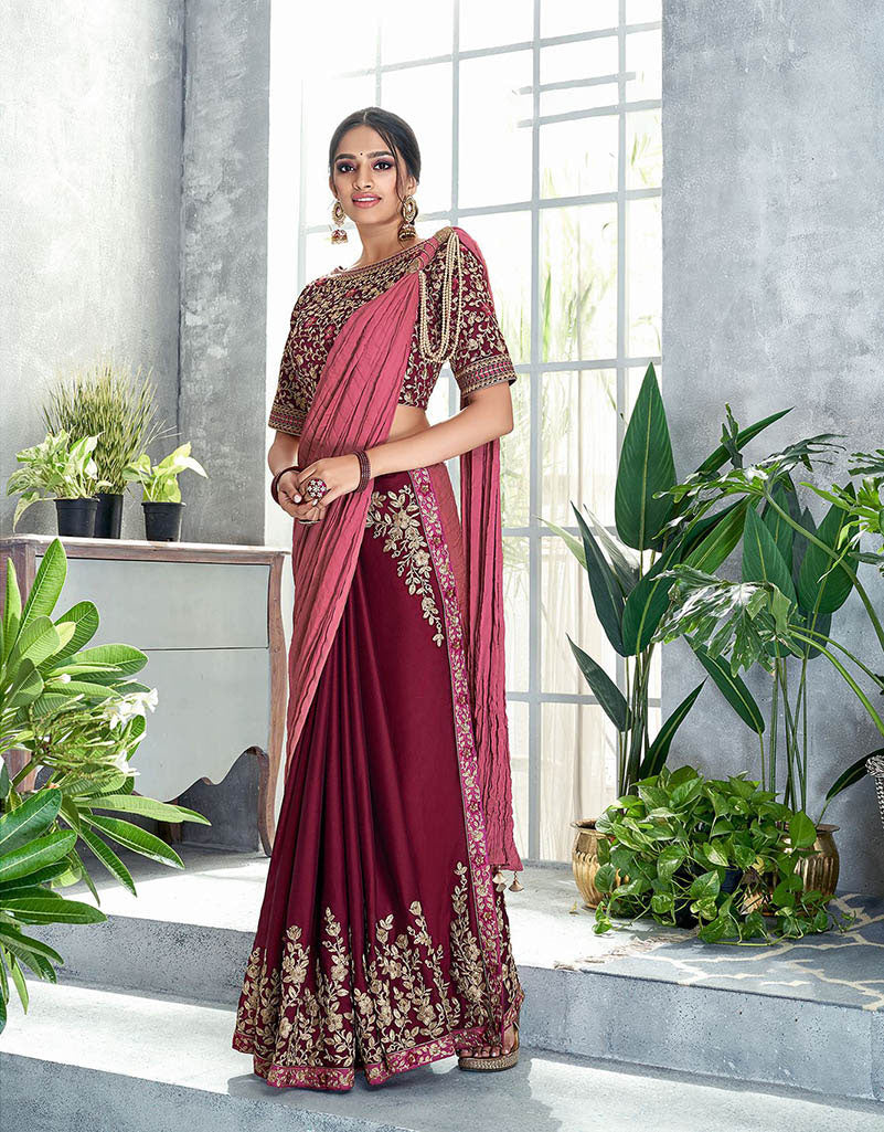 Romantic maroon pre-pleated saree with pearl details