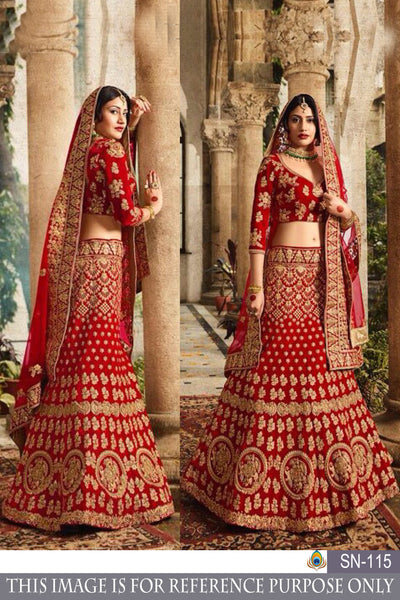 Red Taffeta Silk Fancy Embroidery Work Bollywood Lehenga Choli