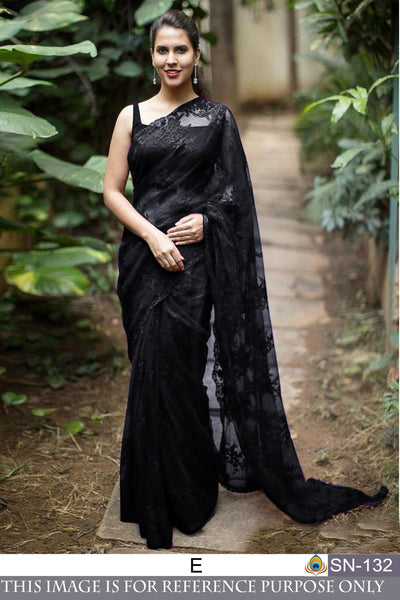 Black Color Nylon Mono Net Embroidered Saree