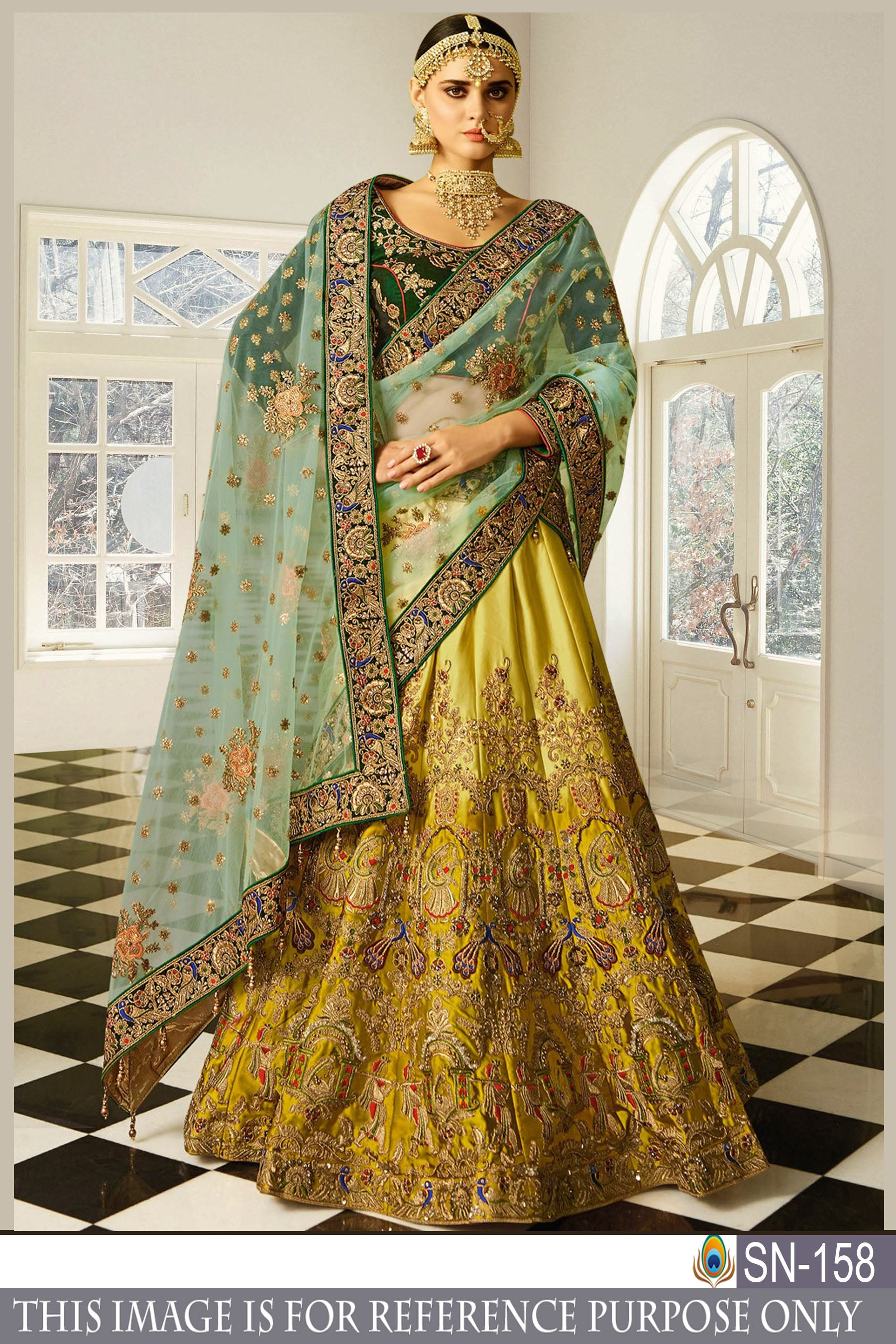New Collection Yellow Naylon Mono Net Zari Embroidery And Diamond With Lace Border Lehnga