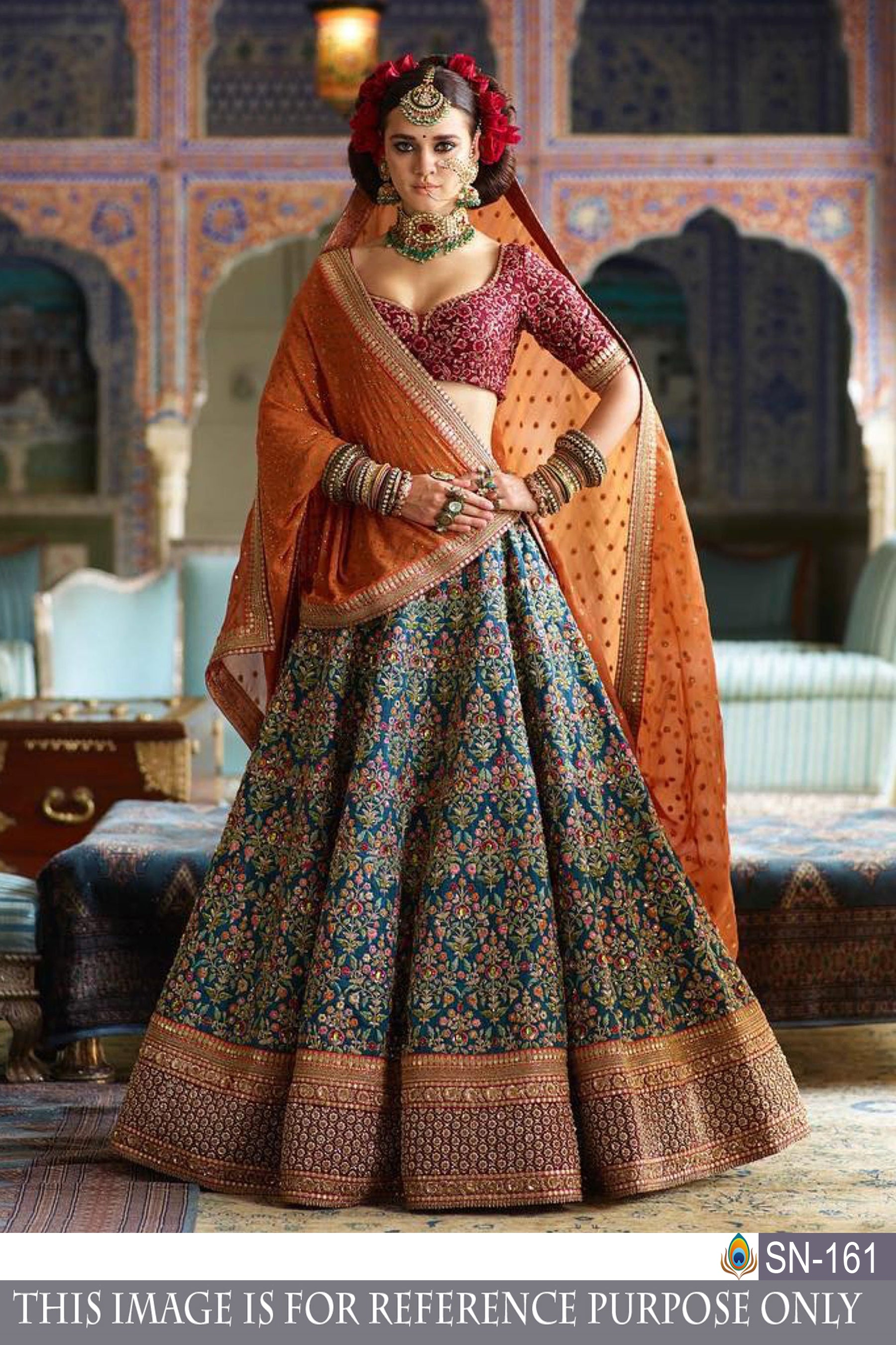 Lehenga cholis Sea green Color Silk Fabric Zari Embroidery Work