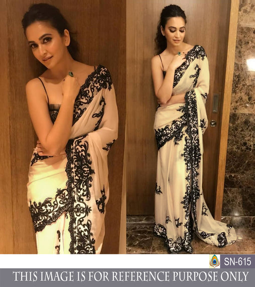 White Georgette Embroidered Latest Online Bollywood Party Sarees