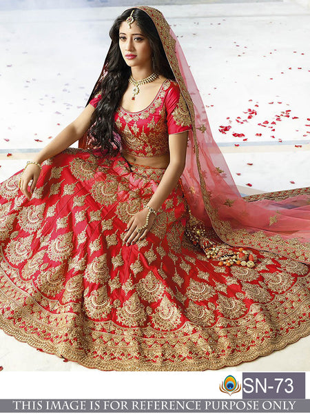 Red Havy Tafeta Silk  Bridal Lehenga