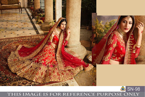 Red Color Heavy Taffeta Silk Embroidered Lehenga