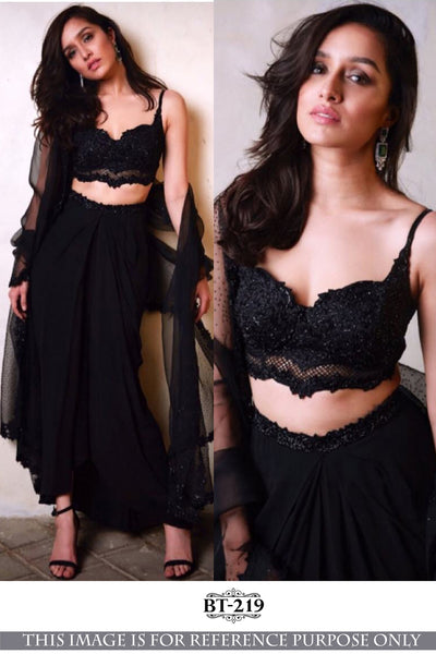 BLACK BEAUTY GEORGETTE SILK DESIGNER LEHENGA CHOLI