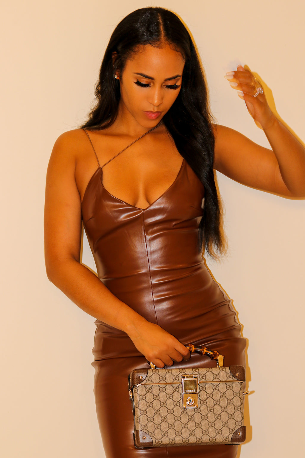 Chocolate Drop Leatherette MIDI Dress