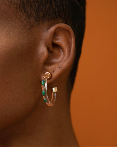Clarity Mini Hoops Malachite