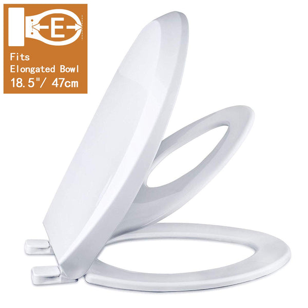 Slow Close Elongated Bowl White Toilet Seat for Adult/Kids Magnetic Stay Tight No Slam