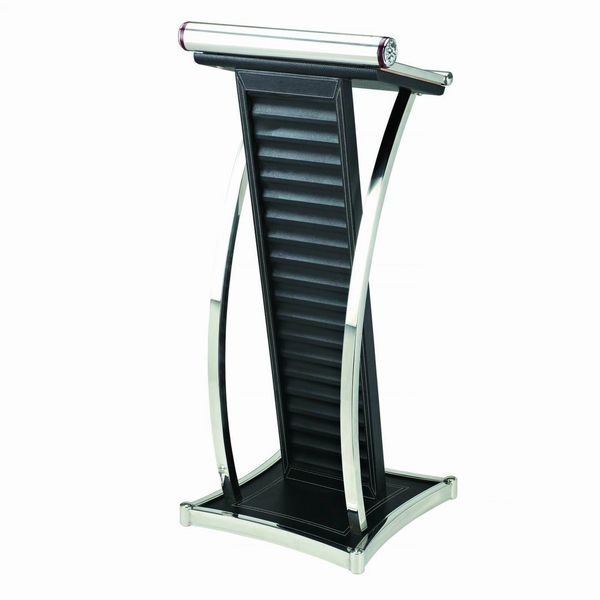 LECTERN S/S WITH BLACK LEATHER