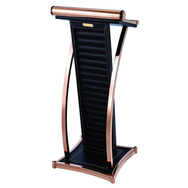 LECTERN S/S WITH BLACK LEATHER ROSEGOLD