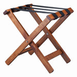 Compact Wooden Luggage Stand Dark Wood