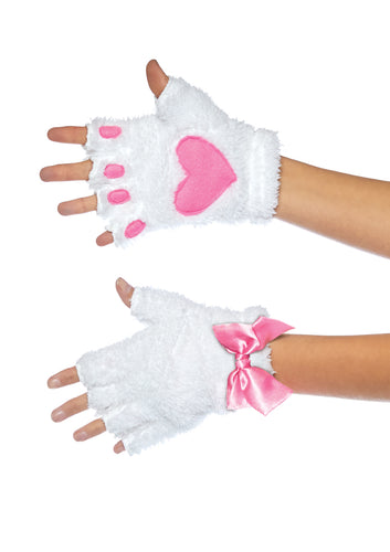 Adult Cat Paw Gloves Costume Accessory - White - Cosplay - Fantasy Fest
