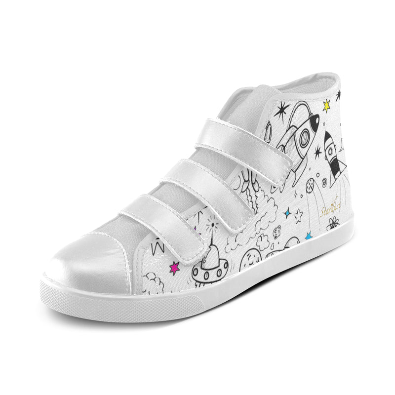 Ultra Galactic, Velcro High Top Canvas Shoes-[stardust]