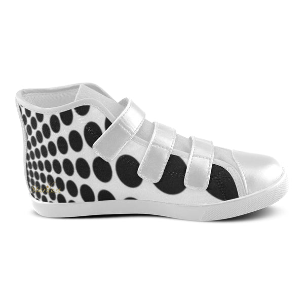 Black Dots ,Velcro High Top Canvas shoes-[stardust]