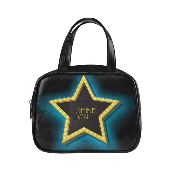 Shine ON ,High-grade Vegan Leather Top Handle Handbag-[stardust]