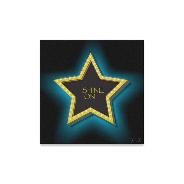 "SHINE ON, Wall Art on Canvas 16"" x16""-[stardust]"