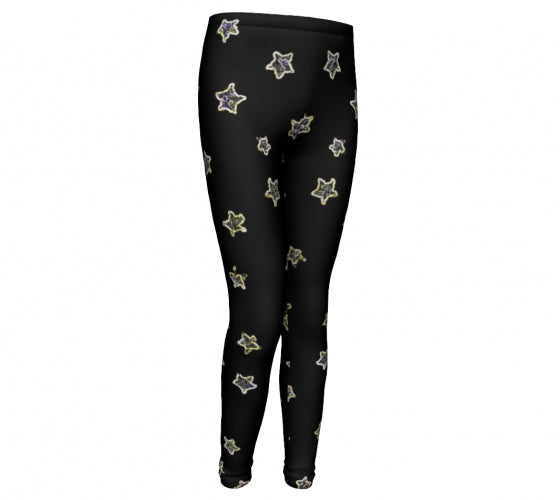 Neon Stars , Eco Friendly, High Performance Leggings-[stardust]