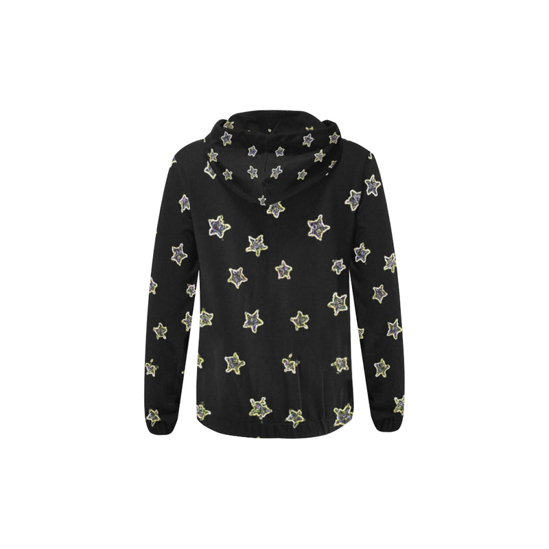 Neon Star All Over Print Hoodie with Zipper-[stardust]