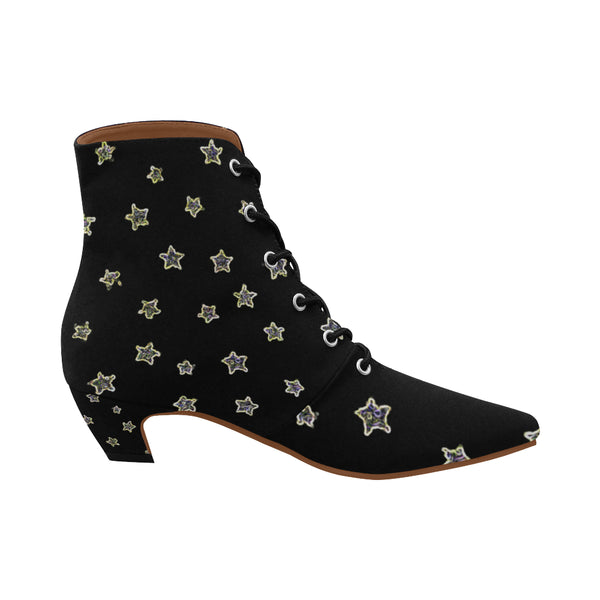 Neon Star ,Chic Low Heel Lace Up Ankle Boots-[stardust]