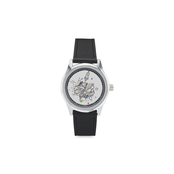 Cosmic ,Elegant Stainless Steel Leather Strap Watch-[stardust]