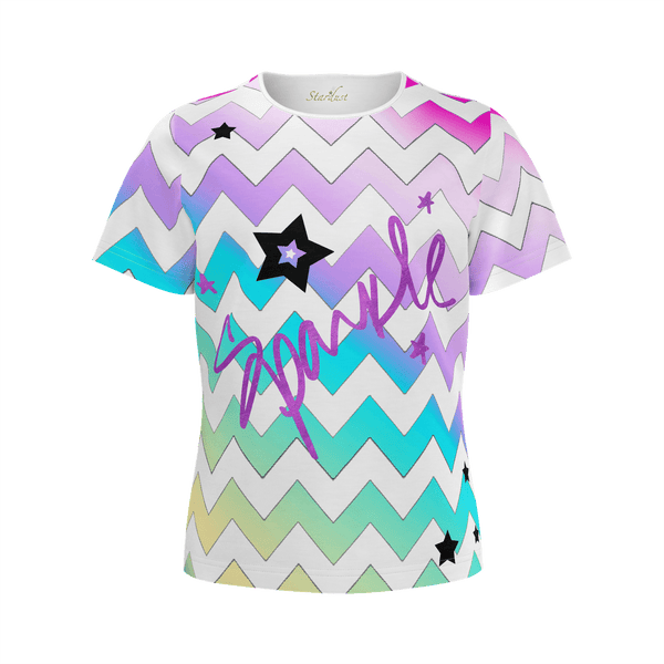 Sparkle , Rainbow Chevron , Eco Friendly T-Shirt-[stardust]