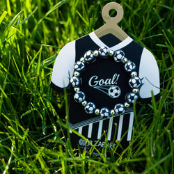 Black Soccer Kids Sports Bracelet by JILZARAH