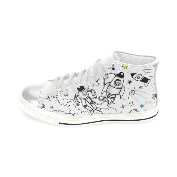 Ultra Galactic, White ,Lace Up ,High Top Shoe-[stardust]