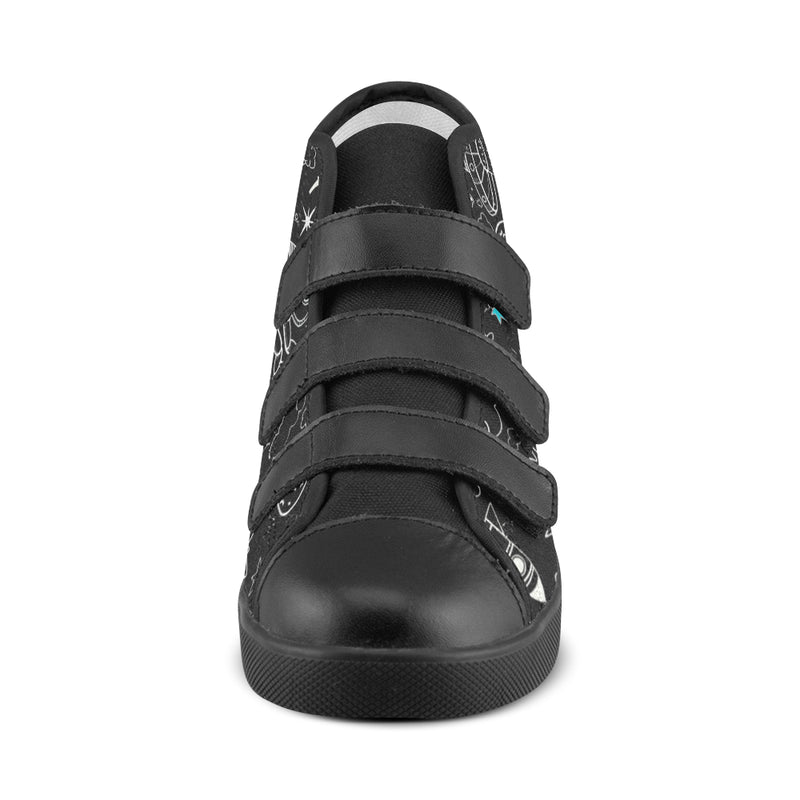 Ultra Galactic, Black High Top Velcro Shoes-[stardust]
