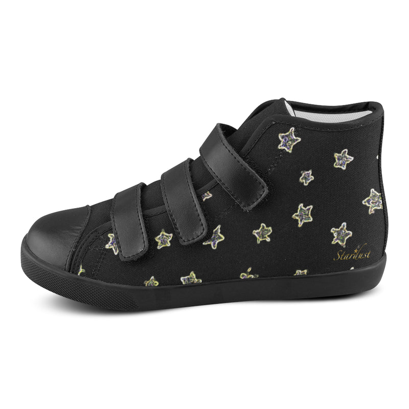 Neon Stars ,Black Velcro High Top Canvas Shoes-[stardust]