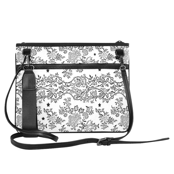 Lace N stars White slim clutch