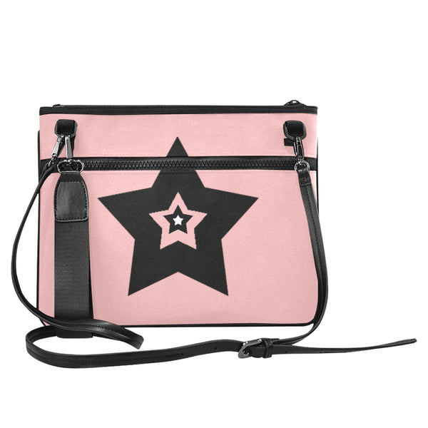 Bulky Star Pink and White Slim Clutch Bag