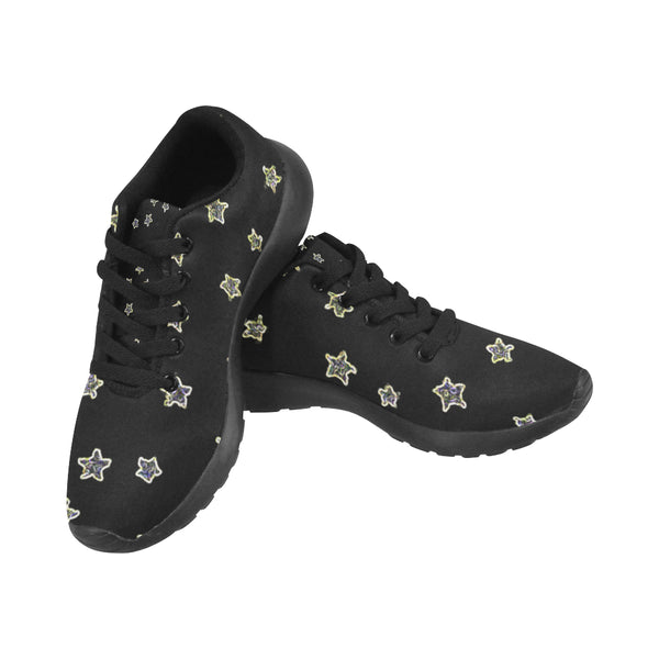 Neon Stars Black Kid's Sneakers-[stardust]