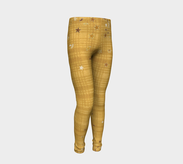 Yellow Plaids N Stars, Eco friendly Leggings