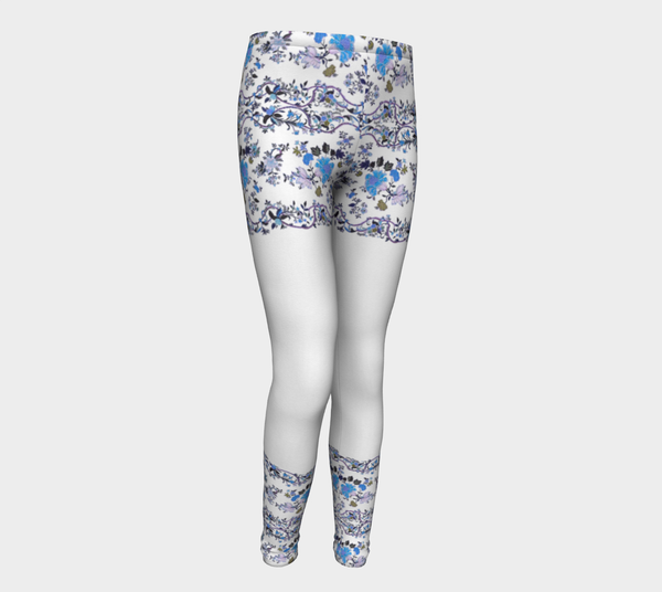 Oriental blue flower , Eco friendly Leggings