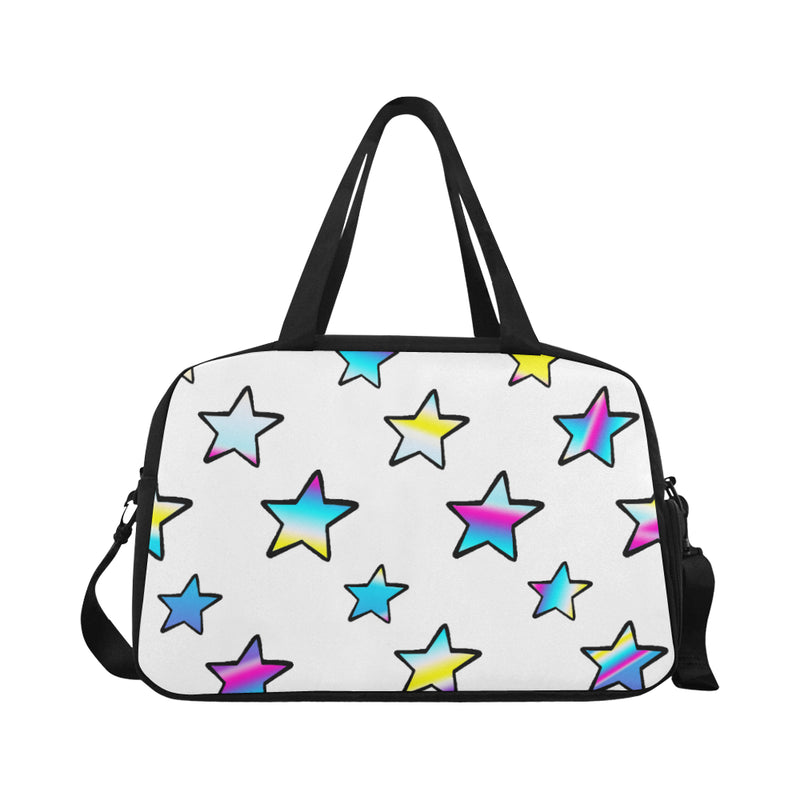 Rainbow stars Black N White Travel Bag