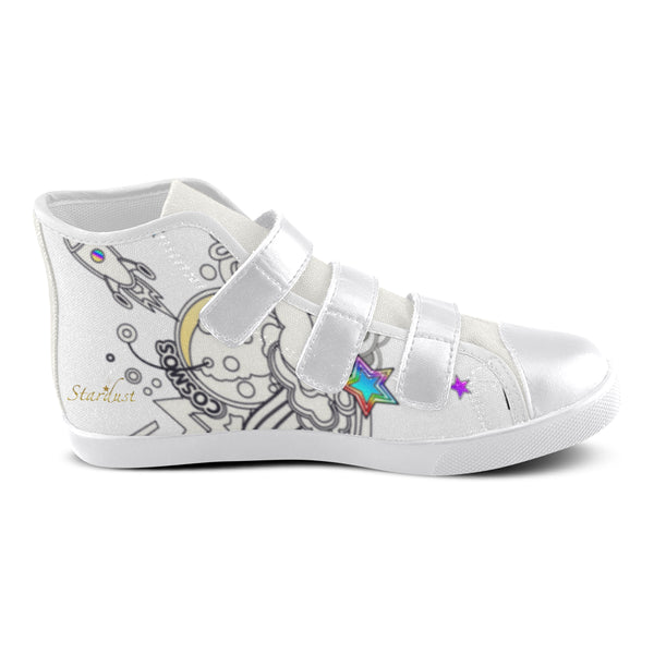 Cosmically, Velcro High Top Canvas Shoes-[stardust]
