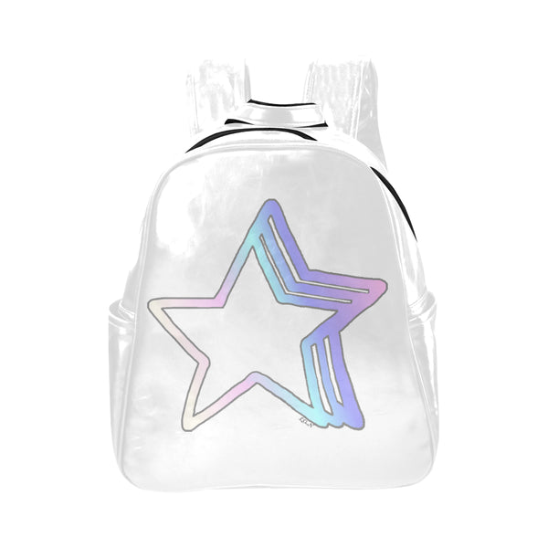 Starlight , Vegan Leather Multi-pocket Backpack-[stardust]