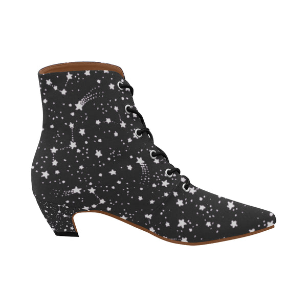 Starry Sky ,Rockstar Chic Low Heel Lace Boots-[stardust]