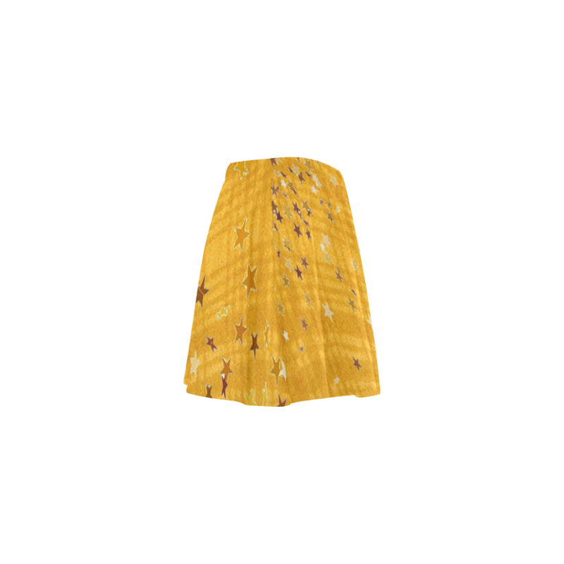 Yellow plaids N stars pattern Skater skirt
