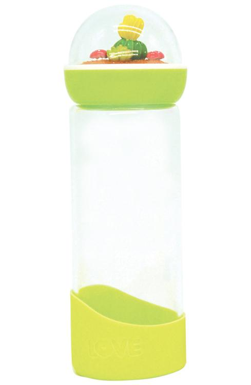 Cactus Glass Water Bottle - Green